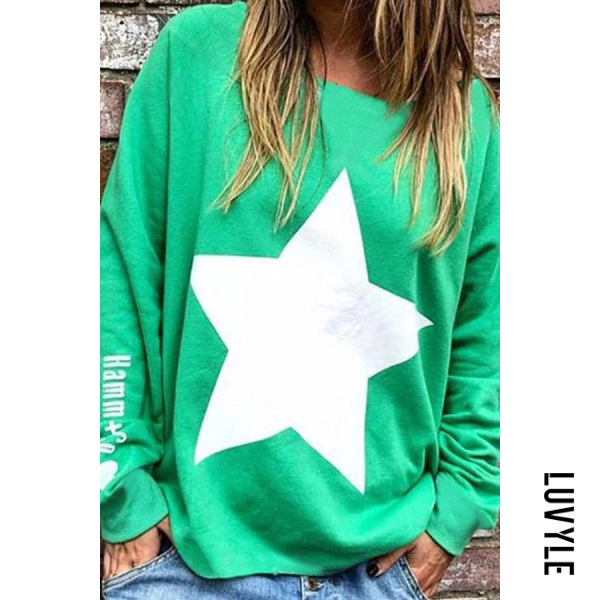 Green Casual Round Neck Loose-Fitting Star T-Shirt Green Casual Round Neck Loose-Fitting Star T-Shirt