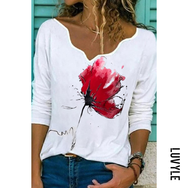 New Long-sleeved V-neck Contrast Printing Casual T-shirt