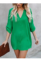 Sexy Fashion Pure Color V Neck Shirt Dress