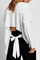 Round Neck  Asymmetric Hem  Plain  Sweatshirts