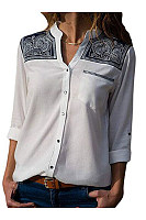 V Neck  Single Breasted  Printed  Blouses