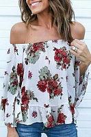 Off Shoulder  Floral Printed Blouses