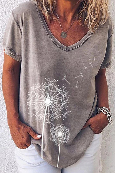Women's V-neck Short Sleeve Print T-Shirt
