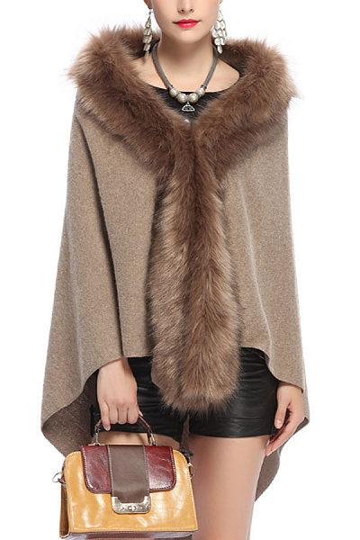 Faux Fur Collar  Asymmetric Hem Poncho  Plain Coats