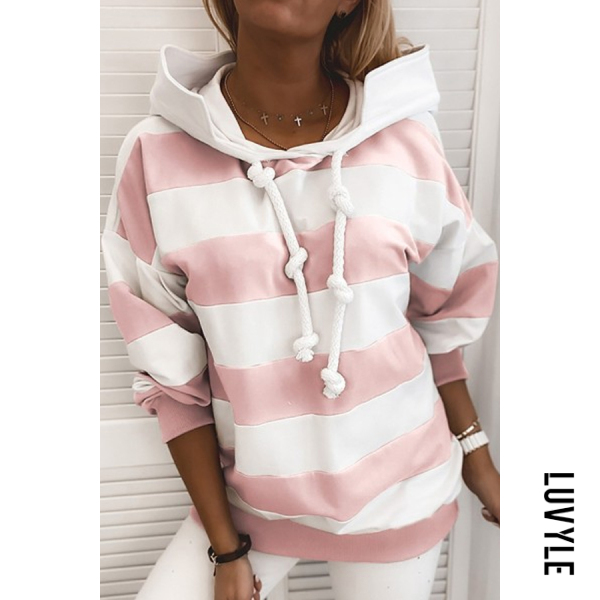Pink Striped Printed Loose Hoody Pink Striped Printed Loose Hoody