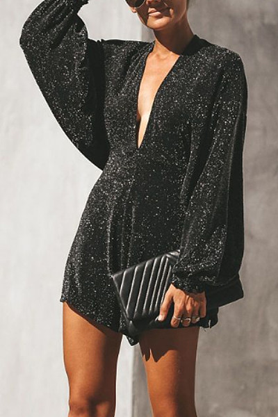 Deep V Neck  Glitter  Plain  Long Sleeve   Playsuits