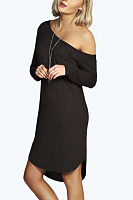 One Shoulder  Asymmetric Hem  Plain Casual Dresses