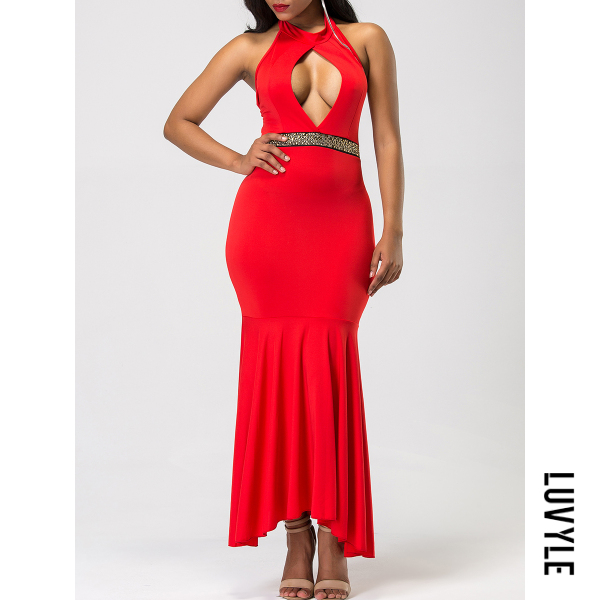 Red Halter Cutout Mermaid Maxi Dress Red Halter Cutout Mermaid Maxi Dress