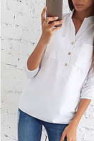 V Neck Decorative Buttons Plain Casual Blouse