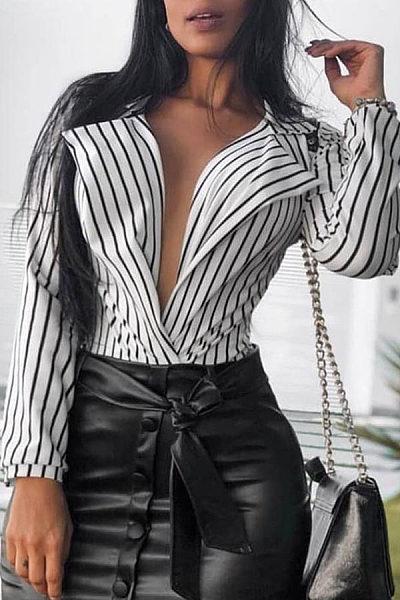 Fashion Stripe V Neck Long Sleeve Shirt Blouse