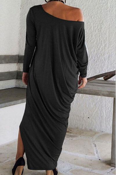 One Shoulder Slit Long Sleeve Maxi Dresses