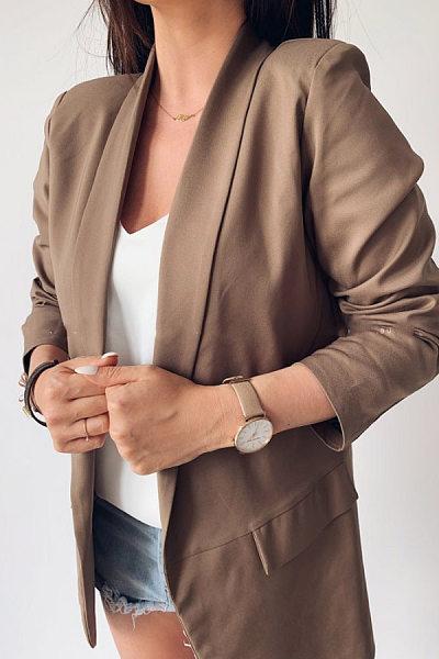 Fold-Over Collar Plain Outerwear