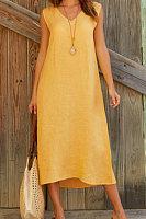 V-neck Sleeveless Cotton Linen Maxi Dress