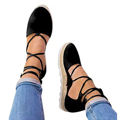 Plain  Flat  Velvet  Ankle Strap  Round Toe  Casual Date Flat Sandals