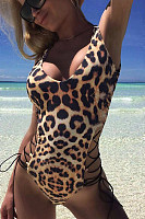 Halter  Backless  Leopard Printed One Piece
