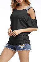 Round Neck  Patchwork  Glitter  Raglan Sleeve T-Shirts