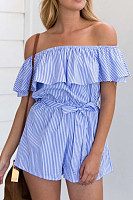 Open Shoulder  Flounce  Stripes Playsuits