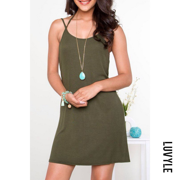 Army Green Spaghetti Strap Shift Sleeveless Casual Dresses Army Green Spaghetti Strap Shift Sleeveless Casual Dresses