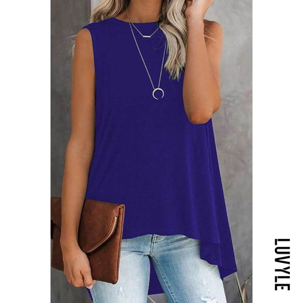Solid color round neck sleeveless irregular top
