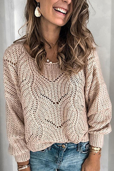 Hollow Out Solid Loose Sweater