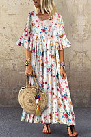 Leisure Trumpet Sleeve Broken Flower Dress