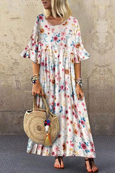 Leisure Trumpet Sleeve Broken Flower Dress
