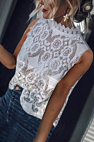Decorative Lace Patchwork  Lace  Blouses