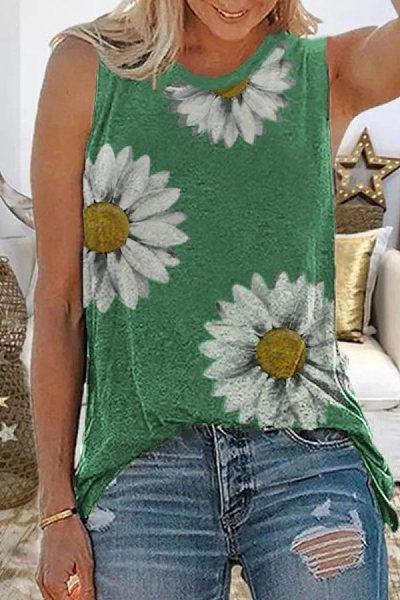 Casual Printed Sleeveless Tops
