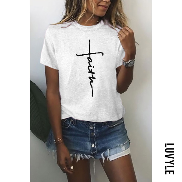 White Casual Round Neck Printed Colour Short Sleeve T-Shirt White Casual Round Neck Printed Colour Short Sleeve T-Shirt