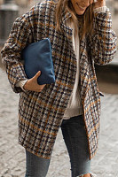 Fold-Over Collar Plaid Casual Outerwear