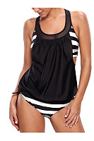 Scoop Neck  Patchwork Racerback  Striped Swimwear
