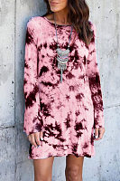 Round Neck  Backless  Abstract Print Casual Dresses