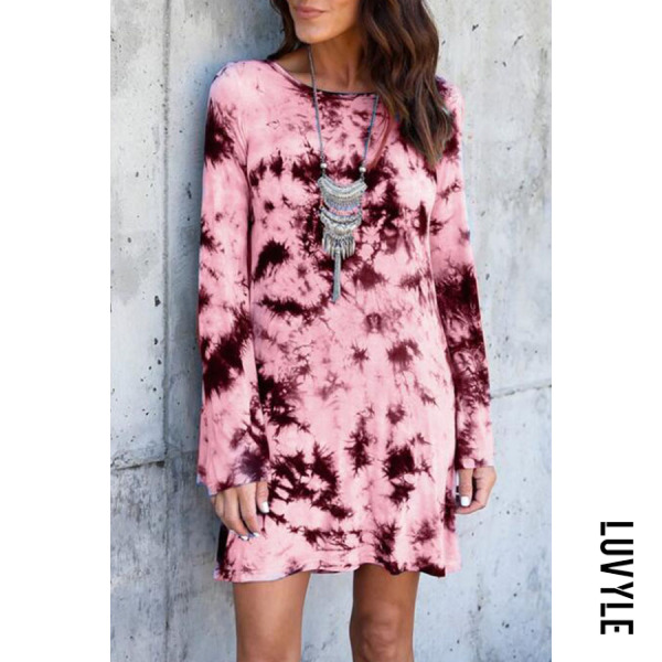 Pink Round Neck Backless Abstract Print Casual Dresses Pink Round Neck Backless Abstract Print Casual Dresses