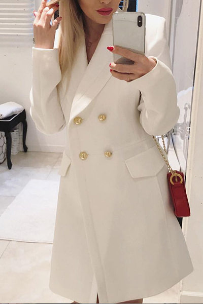 White Double-Breasted Casual Blazer