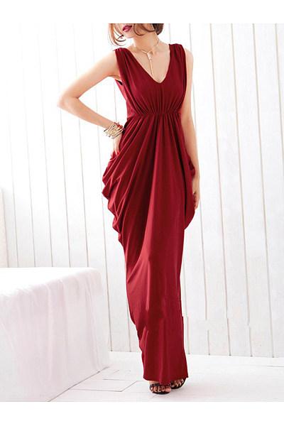 Deep V-Neck Ruched Plain Empire Maxi Dress
