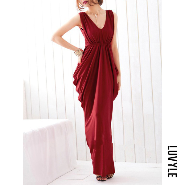 Claret Red Deep V-Neck Ruched Plain Empire Maxi Dress Claret Red Deep V-Neck Ruched Plain Empire Maxi Dress