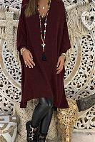 V Neck  Plain  Long Sleeve Casual Dresses