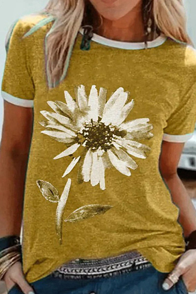 Round Neck Flower Print Short Sleeve T-shirt