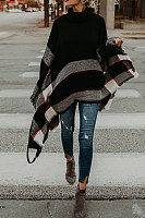 Round Neck  Asymmetric Hem  Striped Outerwear