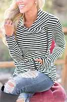 Asymmetric Neck  Zipper  Striped Cardigans