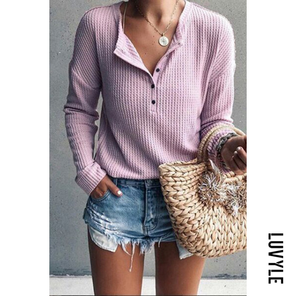 Pink Jewel Neck Long Sleeve Pure Color T-Shirt Pink Jewel Neck Long Sleeve Pure Color T-Shirt