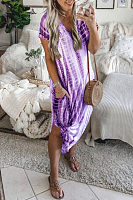 V Neck  Ikat  Short Sleeve Maxi Dresses