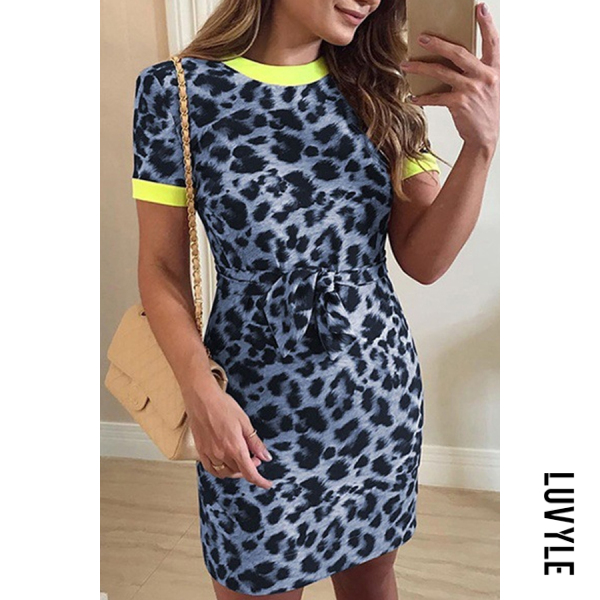 Lake Blue Round Neck Leopard Printed Short Sleeve Bodycon Dresses Lake Blue Round Neck Leopard Printed Short Sleeve Bodycon Dresses