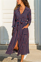 Casual Printed Lapel Long Sleeve Maxi Dress