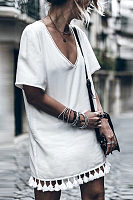 White V-Neck Tassel Dress