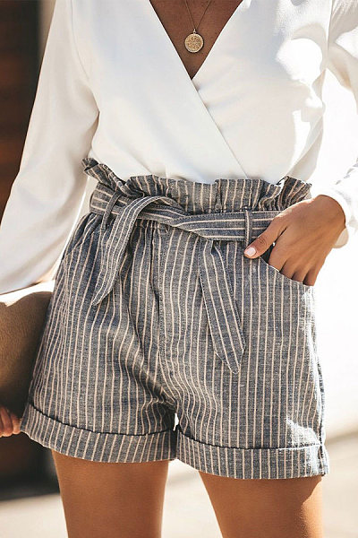 Striped High Waist Pocket Shorts Pants