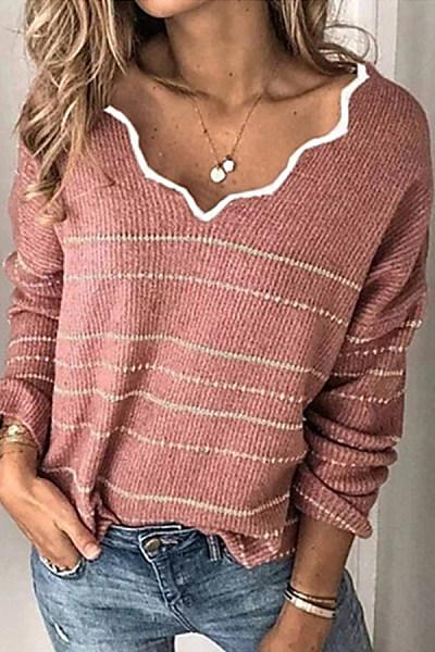 V Neck Long Sleeve Striped Sweater