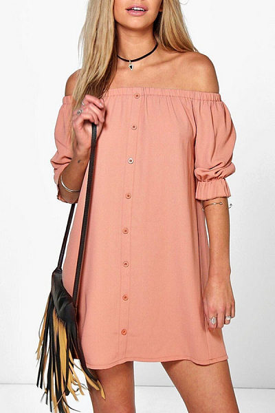 Chiffon Off Shoulder Single Breasted Casual Dresses