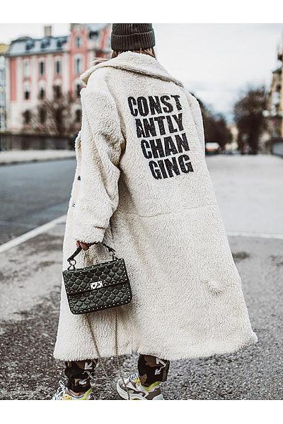 Women's Fashion Simple Long Letter Print Coat