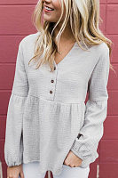 V Neck Long Sleeve Decorative Buttons Plain Blouse